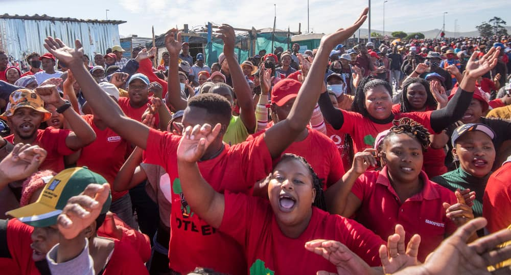 Members of Economic Freedom Fighters (EFF) lead a community protest in Kraaifontein in November. Image: Brenton Geach/Gallo Images
