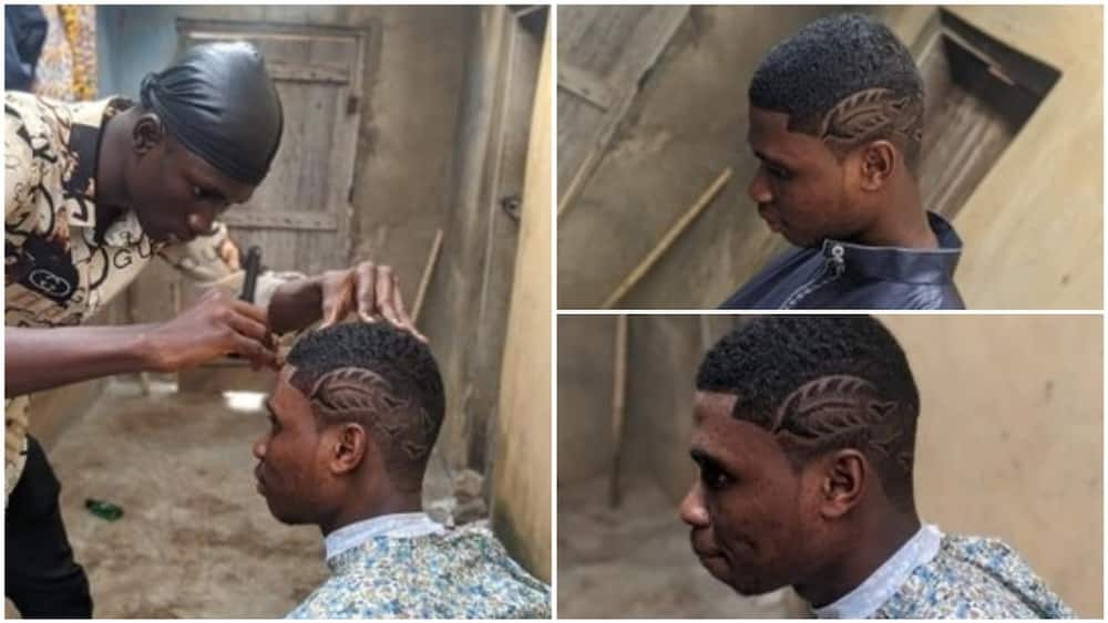 A collage showing the barber at work. Photo source: Twitter/@Topzycut