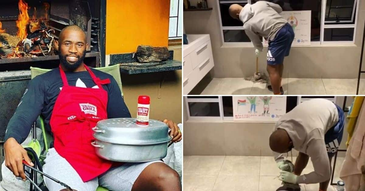 Kolisi starts household chores challenge with clip of himself cleaning - Briefly.co.za