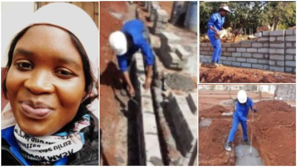 Young lady who works as Housebuilder for a living showcases her work with pride in photos