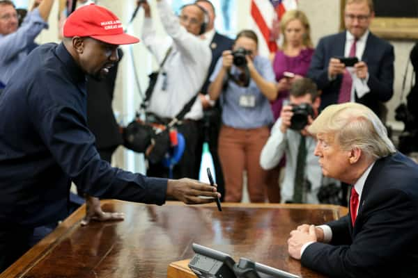 Trump, Kanye West hug during freaky Oval Office meeting