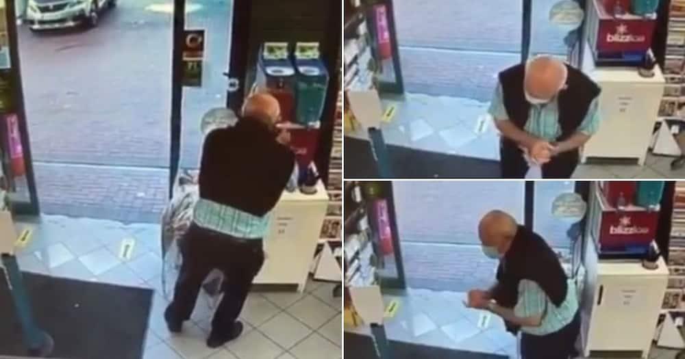 Old man filmed sanitising hands at slushy machine, SA in stitches