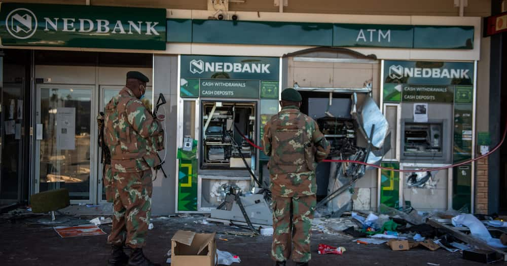 Banks, Destroyed ATMs, unrest in KwaZulu-Natal and Gauteng