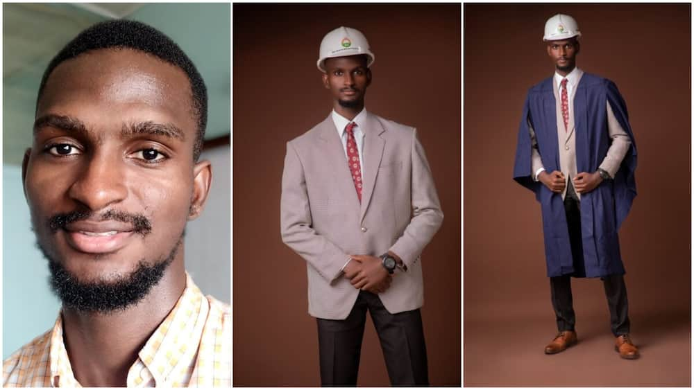 Nigerian man bags first class in engineering, shares graduation photos, sparks conversations