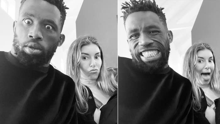 """""""Stay real"""": Rachel shares snaps of herself and Siya Kolisi pulling funny faces in viral pics"""