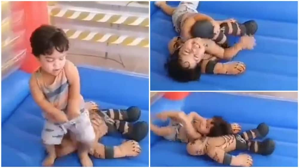 Little kid show great wrestling skill, see how he won a fight in this ring