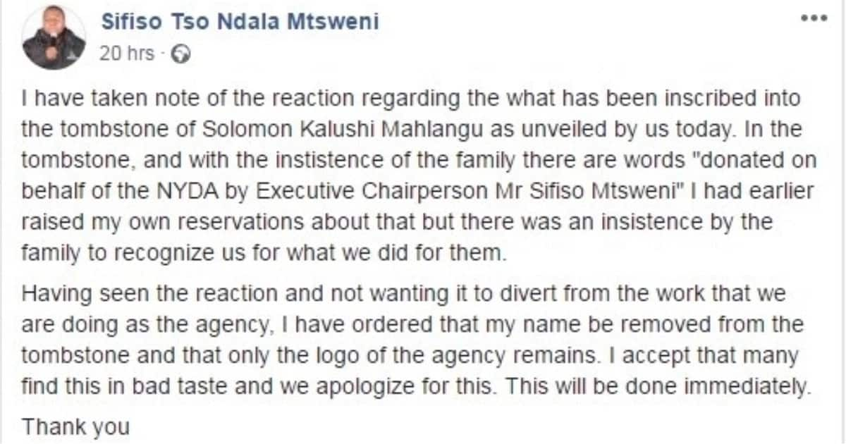 NYDA donation wording on struggle icon's tombstone causes a twitter storm