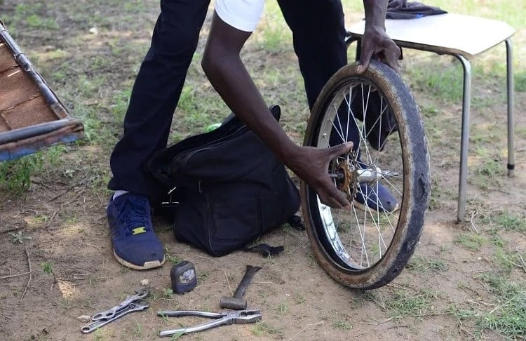 """He has already travelled over 50km in his """"bicycle-car."""" Source: Sowetan"""