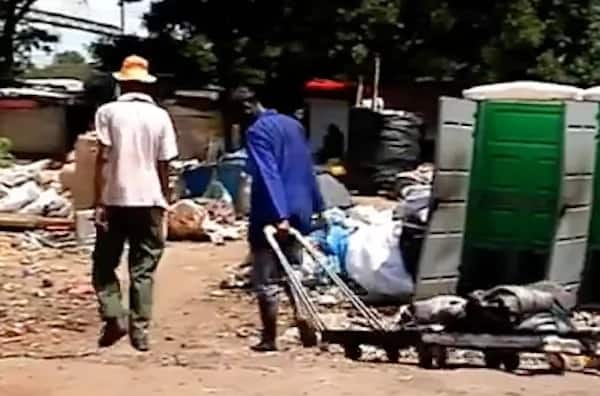 Mangena sells recycled plastic to make ends meet. Source: SABC