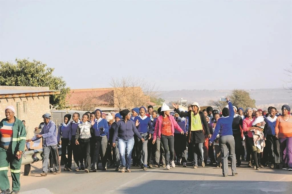 Some of the learners and their parents during the protest. Source: Daily Sun/Morapedi Mashashe