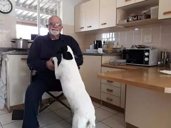 The humorous John Gardener pictured with his beloved dog, Roxy the Foxy. Source: The Mercury