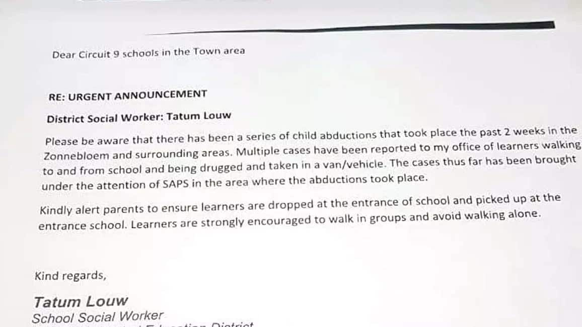 Parents on high alert as school kids are abducted and drugged on way from school in Western Cape