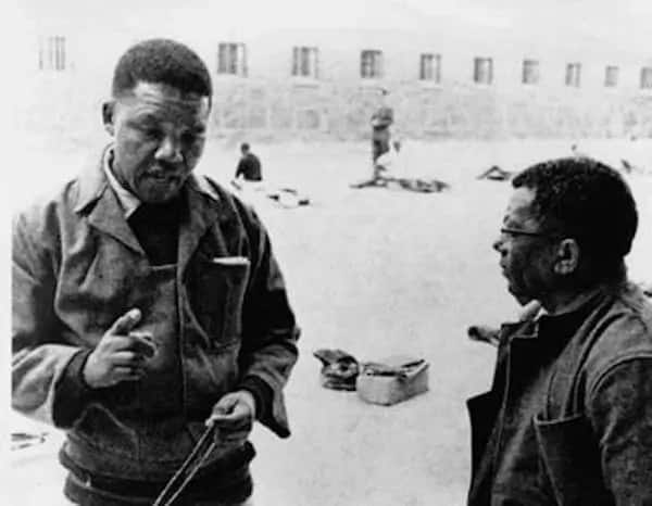 Nelson Mandela pictured with Walter Sisulu at Robben Island. Source: SA History Online