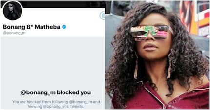 Bonang blocked tweep who said she has been dodging tax for 10 years