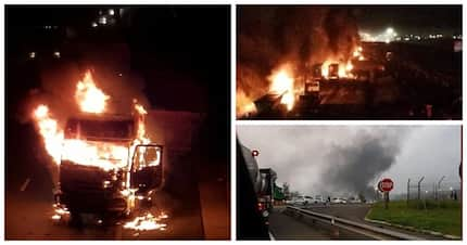54 People arrested after torching 18 Trucks on N3 near Mooi River Toll Plaza