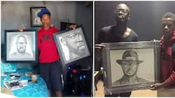 Supporting local talent: DJ Black Coffee buys young artist's portrait of him
