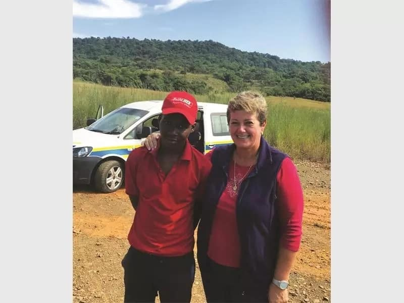 "Cllr Alta de Kock and Thembelane Mhlong, also known as ""Five Rand."" Source: Vryheid Herald"
