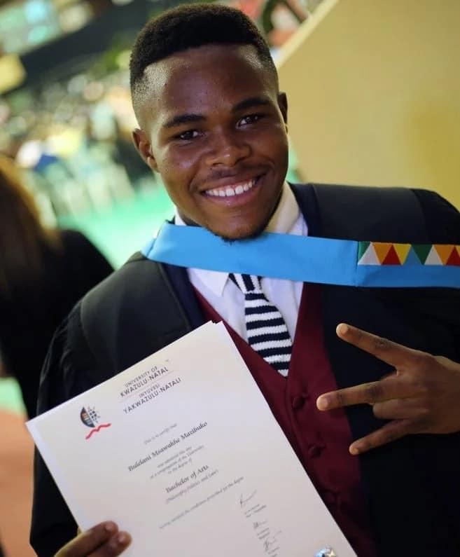 Bulelani proudly shows off his degree. Source: Ndaba Online