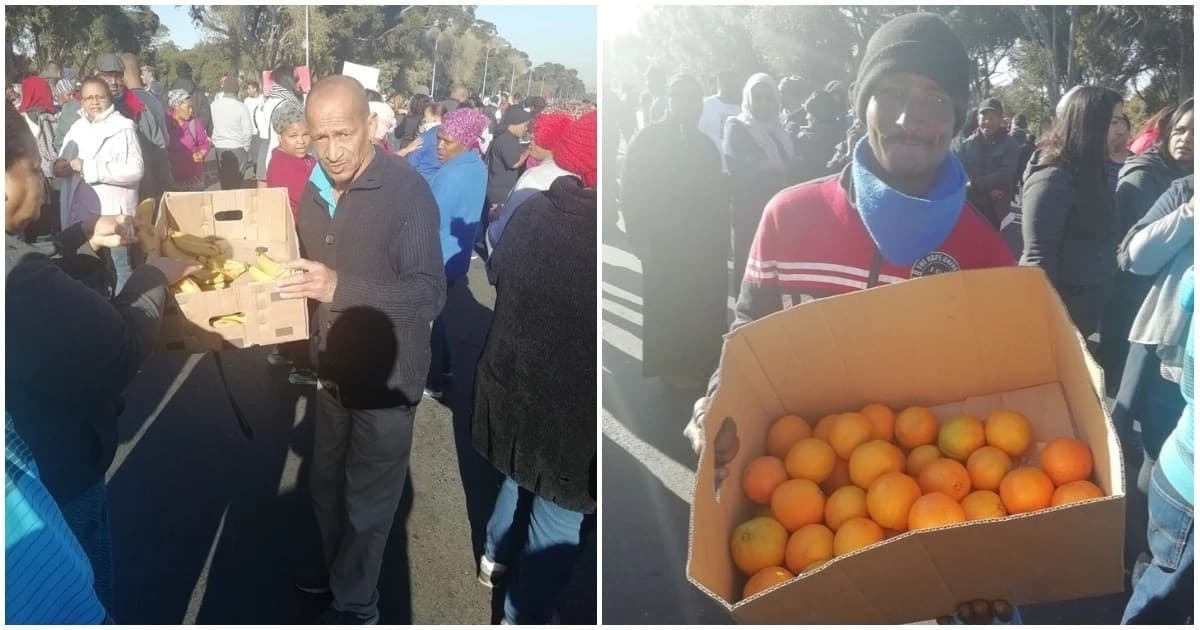 Man dishes out fruits to thank community for peaceful protest
