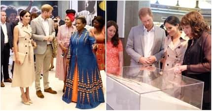 Pictures of Prince Harry and Meghan Markle meeting Madiba's granddaughter at Mandela exhibition