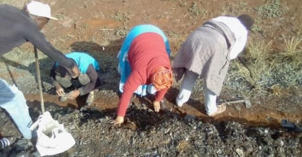 "Some of the villagers digging for ""gold."" Source: News24"