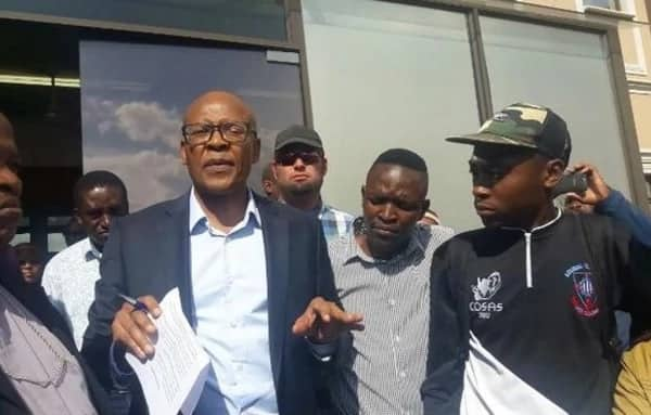 Afro Worldview's owner, Mzwanele Manyi, received a memorandum from the protesters. Source: eNCA