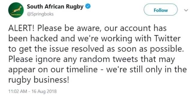 Springboks tweeted this after realizing their account was hacked