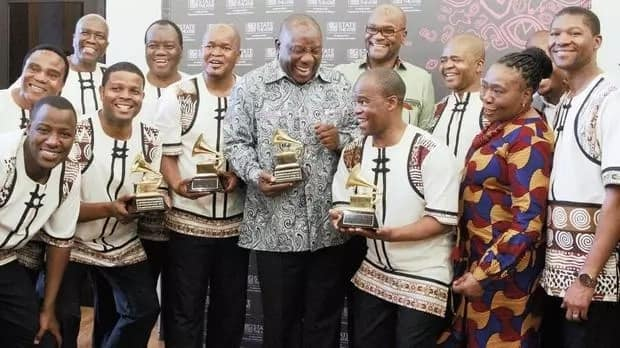 Ramaphosa has a fanboy moment when meeting Ladysmith Black Mambazo