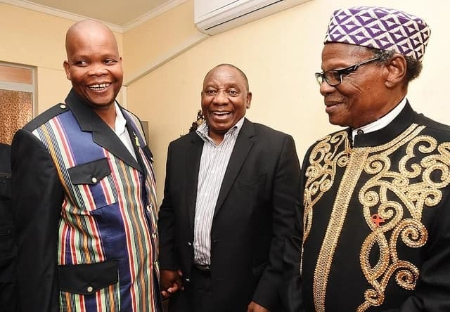 King Toni Mphephu Ramabulana (left) pictured with President Cyril Ramaphosa and IFP leader Mangosuthu Buthelezi