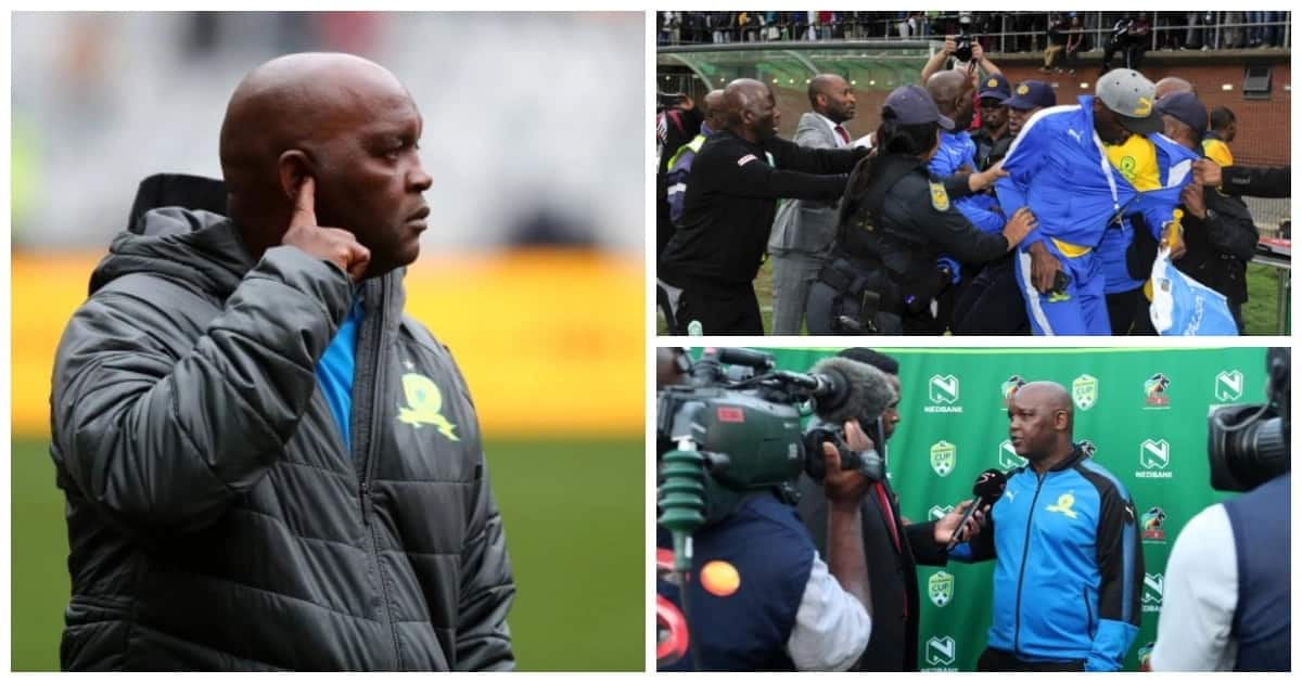 Mamelodi Sundowns coach Pitso Mosimane refuses to answer questions about assault charges
