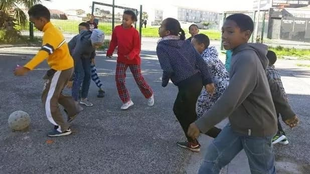 Some of the kids pictured playing a friendly soccer match. Source: Daily Voice/Monique Duval