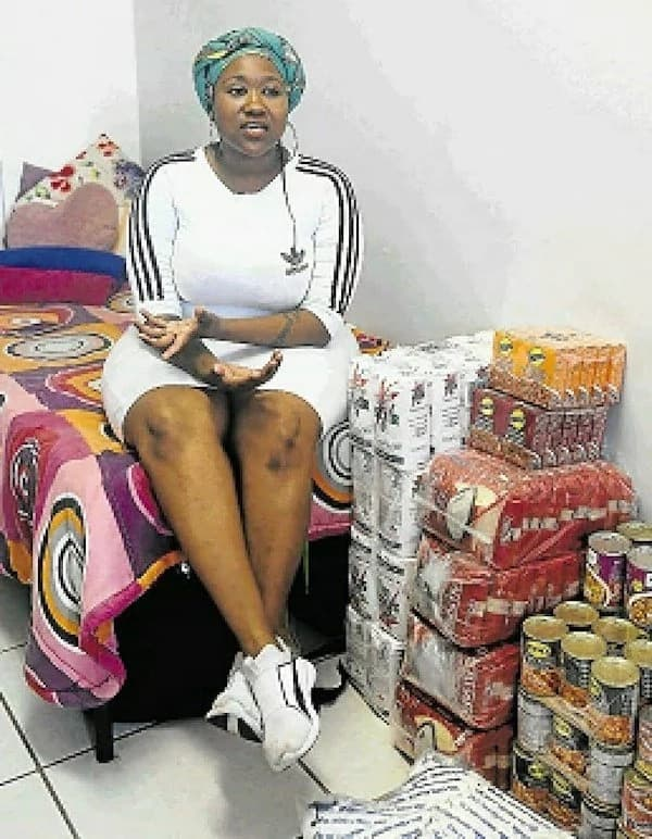 Zandisiwe at her residence room with the food she helps hungry students with. Source: Saturday Dispatch