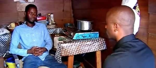 Sam Mangena during his interview inside his shack. Source: SABC