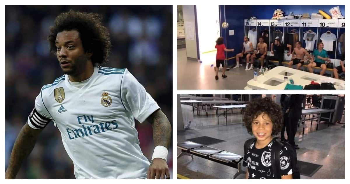 Real Madrid star Marcelo's son completes bin challenge with football royalty