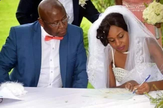 Cain Mathema and Bathabetsoe Diana Nare on their wedding day. Source: Myzimbabwe.co.zw