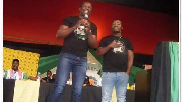 Gabriel Temudzani and Sydney Ramakuwela address the crowd and an ANCYL rally in Middellburg. Image source: Balise Mabona/Africa News Agency