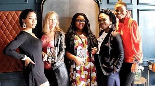 Kelly Khumalo, Julie Hall, Dudu Busani-Dube, Sthandiwe Kgoroge and Lineo Sekeleoane at a recent promotional event. Source: ANA