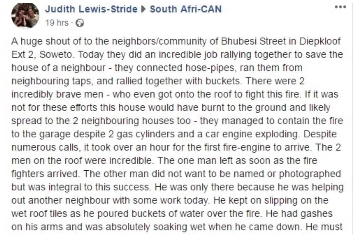 Neighbours show ubuntu when they work together to save house from fire