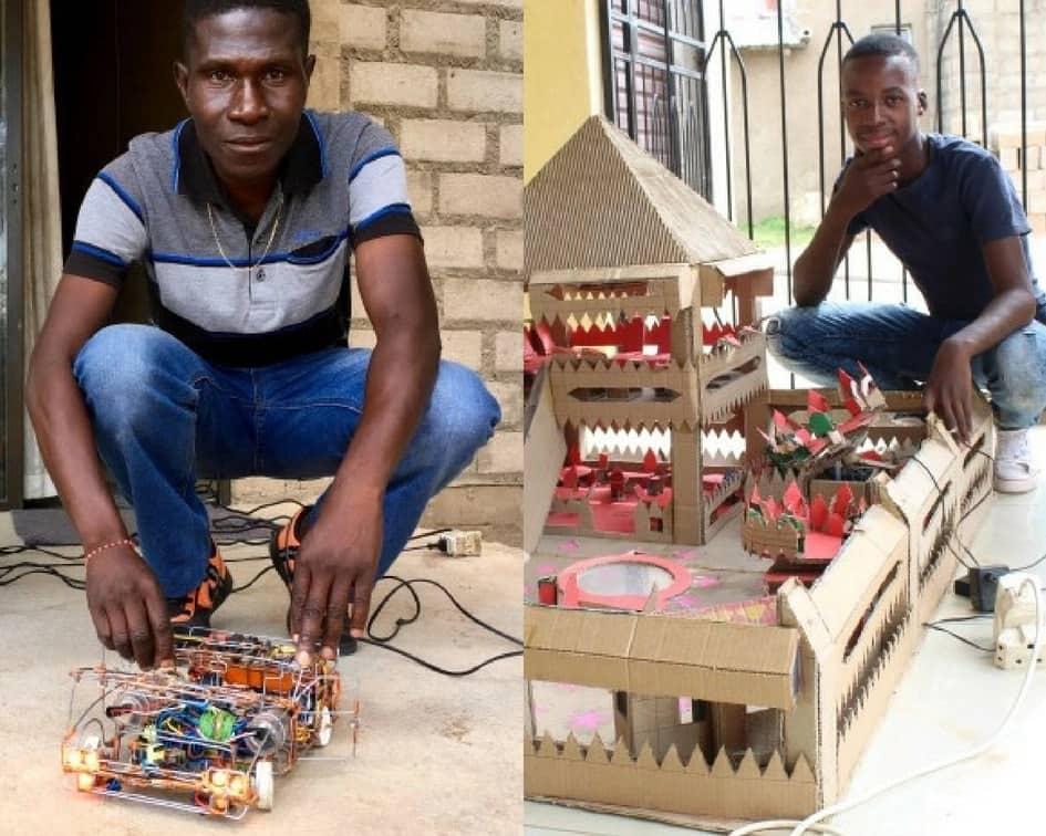 Benjamin (left) and Samkelo pose with their prototypes. Source: Mpumalanga News