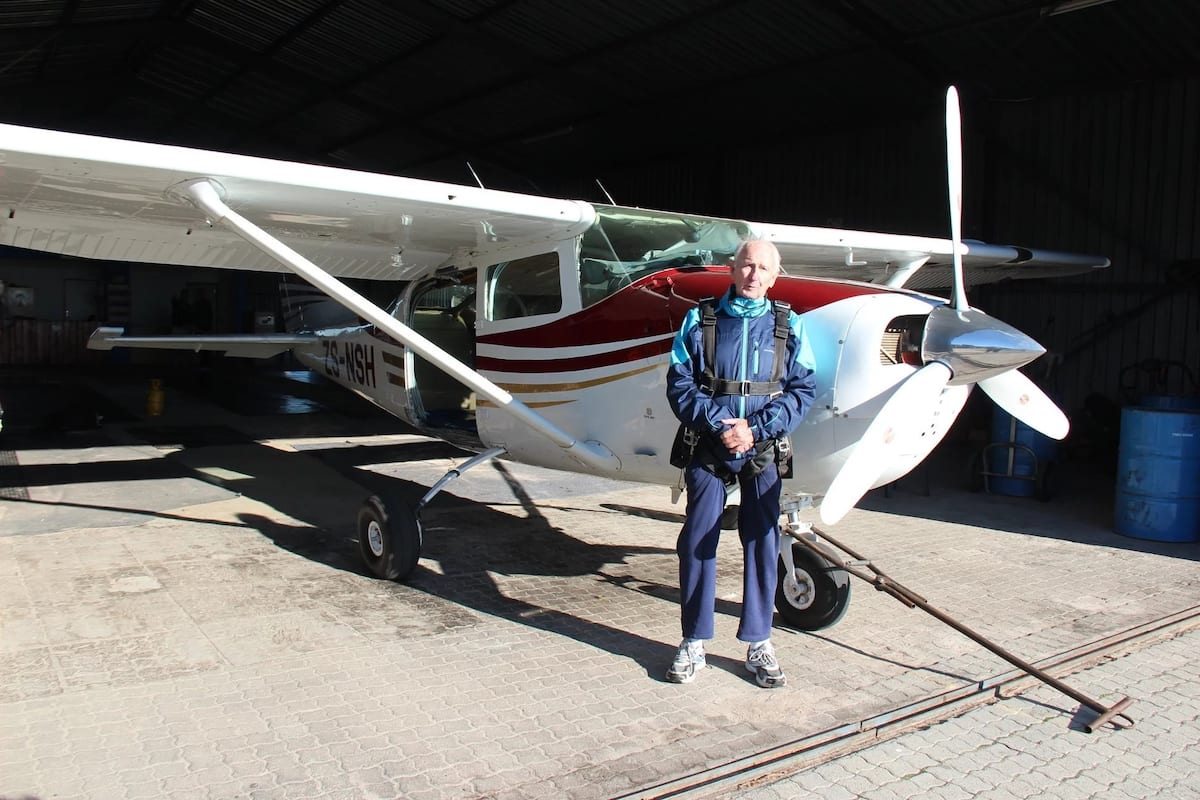 Adrenalin junky at 90: SA man skydives for his 90th birthday