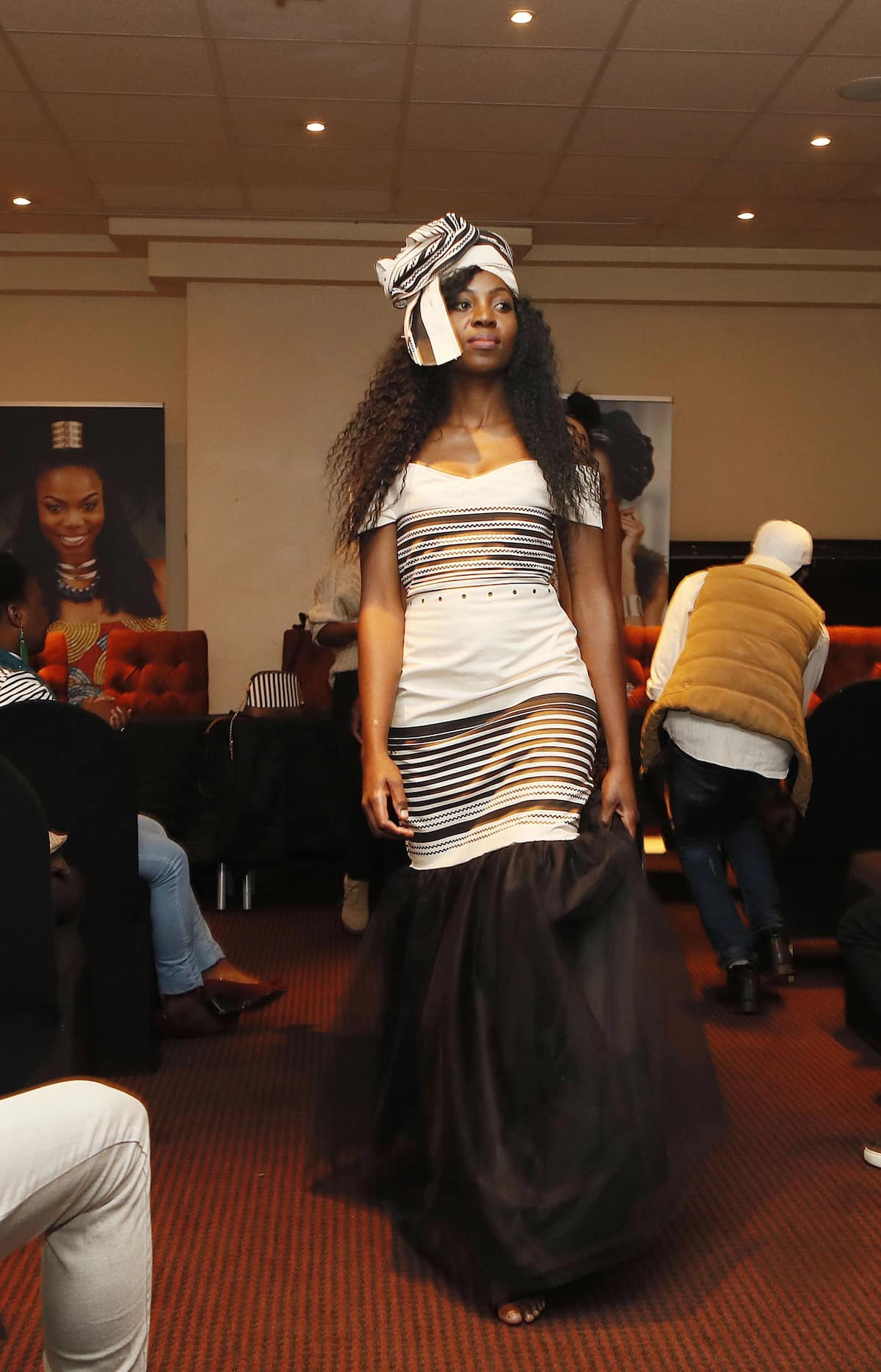 A model showcases one of the designs. Source: IOL/Simphiwe Mbokazi
