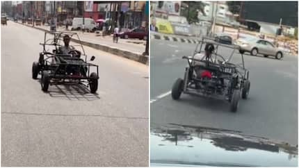 Innovative man caught on camera driving self-made car in the streets