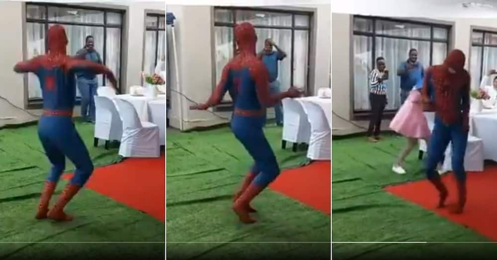 Another video of a dancing Spider-man has thrilled Mzansi's social media users. Image: @Selawexe_Junior/Twitter