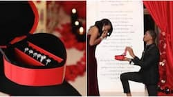 Man proposes to girlfriend with 6 different diamond rings and lovely giant-sized card