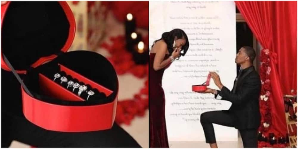 Nigerians react as man stuns his girlfriend with 6 different diamond rings in lovely marriage proposal