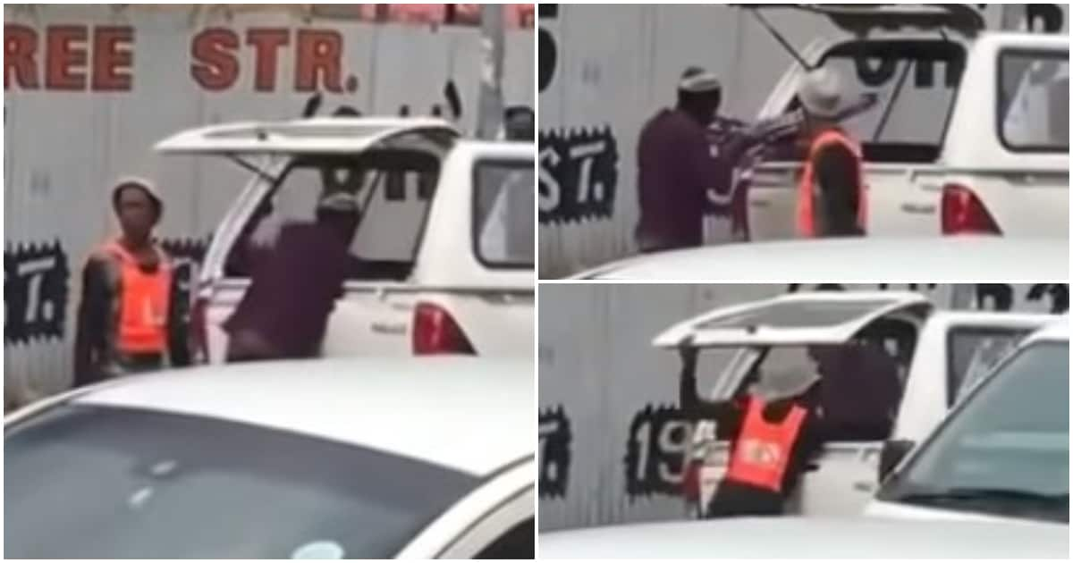Video: Car guard joins forces with thugs to loot bakkie in Joburg