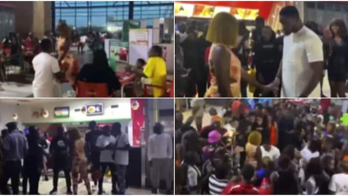 Video shows bouncers forcing lady to accept proposal from boo after walking out on him, many say it's staged