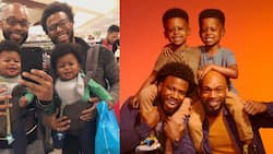 Adorable dads share cute throwback snap of them with their baby twins
