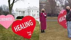 POTUS and FLOTUS Decorate White House Lawn with Hearts for Valentines Day