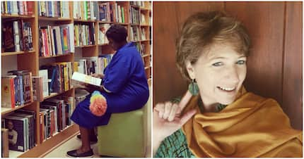 Kind woman spots bookshop cleaner reading book and buys it for her